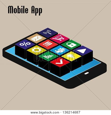 mobile app on black smartphone isometric vector illustration