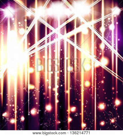 Scene illuminated spotlight, disco, party, easy all editable