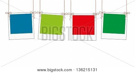 Blank photo frame hanging on a rope vector illustration