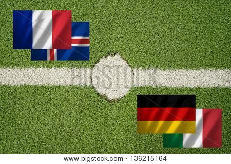 france iceland germany and italy flag on football green field and haft line - can use to display or montage on product or concept of challenge between math