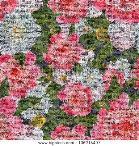 seamless floral pattern with pink peonies with canvas texture.