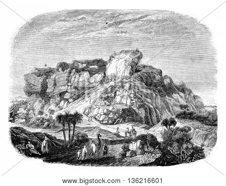 Ruins of the Tower of Babel views of the south side, vintage engraved illustration. Magasin Pittoresque 1842.