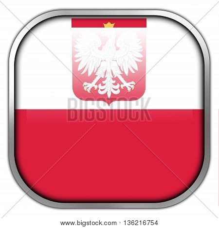 Flag Of Poland With Coat Of Arms, Square Glossy Button