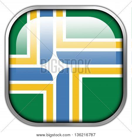 Flag Of Portland, Oregon, Square Glossy Button