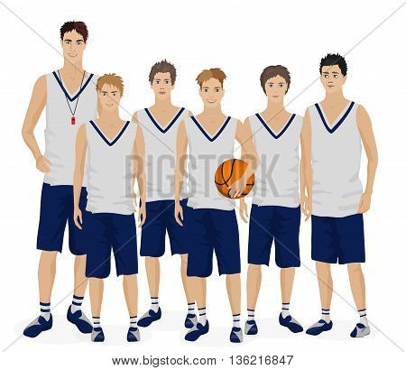 Young guys school basketball team with coach trainer
