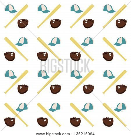 Sports seamless background with elements of the equipment for baseball baseball bat cap and gloves vector illustration.