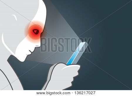 Using smart phone in dark may be causes of eye pain symptom. Light from mobile entering the eye. This illustration about health care.