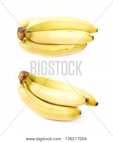 Bunch of ripe banana fruits isolated over the white background, set of two different foreshortenings