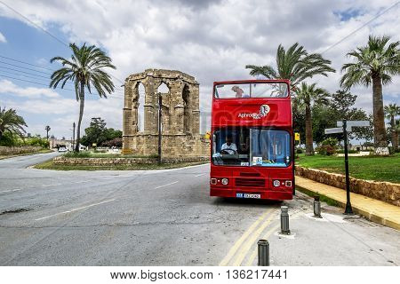 May 24 2016.Famagusta.Red tourist double Decker bus on the street in Famagusta .Northern Cyprus.