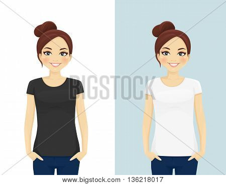 Cute girl in blank white and black T-shirts isolated