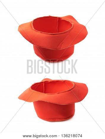 Red prop clown's hat isolated over the white background, set of two different foreshortenings