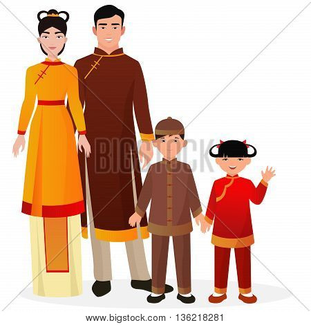 Chinese family. Chinese man and woman with boy and girl kids in traditional national clothes