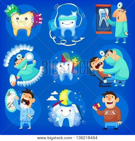 Set of dental icons and illustrations with man, taking care of his teeth at the dentist's and at home