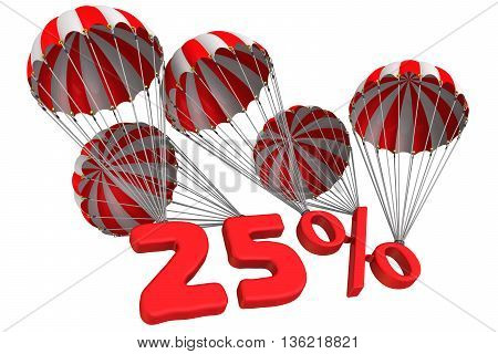 Twenty-five percent is falling down on parachute. Isolated. 3D Illustration