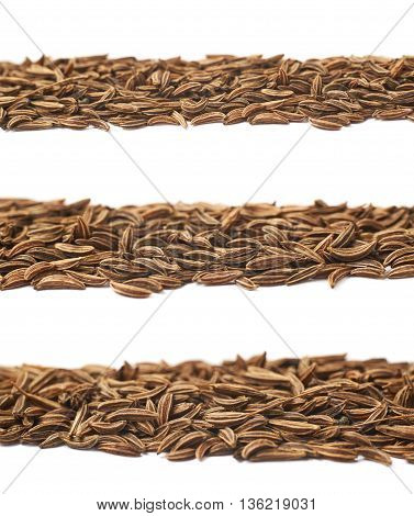 Line of cumin seeds isolated over the white background, set of three different foreshortenings