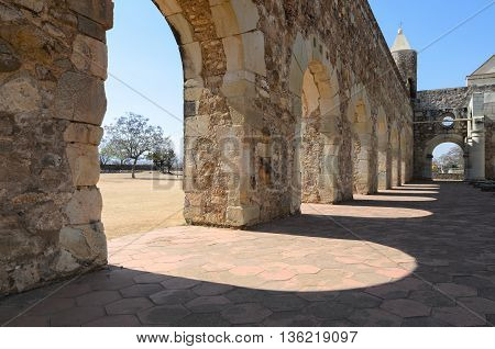 Closeup view to the yard of Convento de Cuilapam in Oaxaca