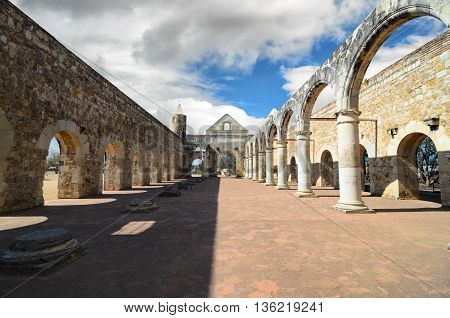 View to the yard of Convento de Cuilapam in Oaxaca