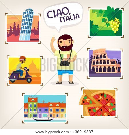 Tourist making pictures of famous Italian sights, beautiful nature and local cuisine