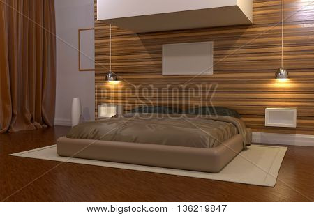 3D rendering of an interior bedroom in a large house