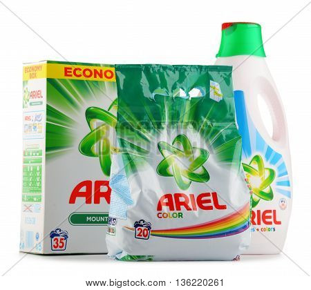 Ariel Laundry Detergent Products Isolated On White
