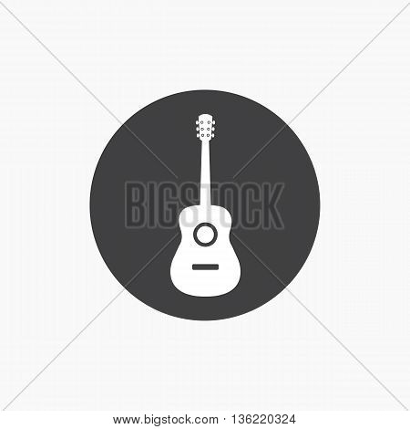 Acoustic guitar icon vector isolated with shadow