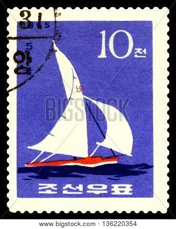 STAVROPOL RUSSIA - APRIL 28 2016: a stamp printed by DPR Korea shows Dragon Class circa 1965