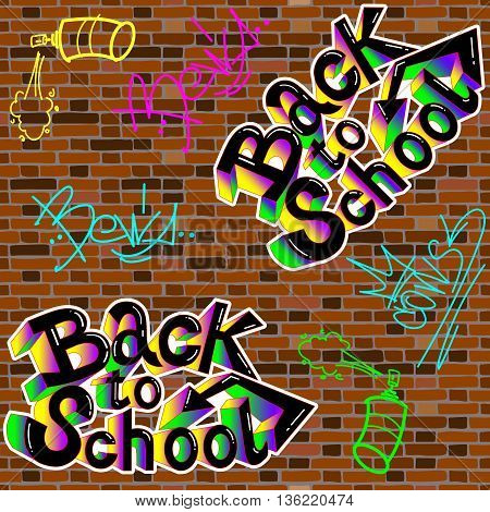 Back to school, on a brick wall background. Vector. School  study, school art, school sketch, school lettering, school icon, school background.