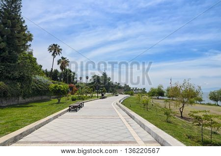 Paved pedestrian road along Chapala lake in Jalisco
