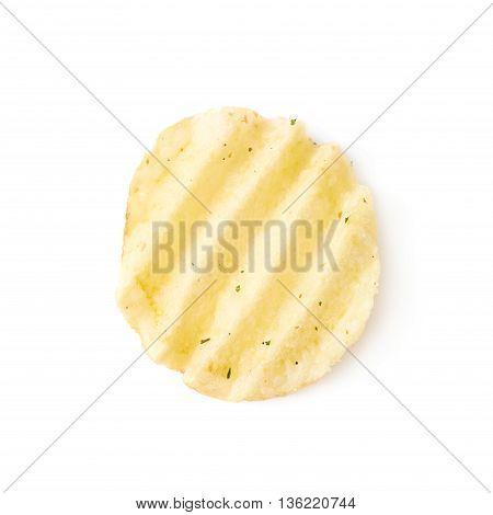 Single potato chip crisp isolated over the white background