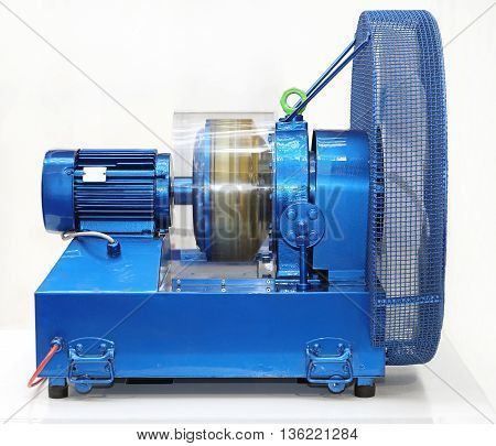 Blue Electric Engine Rotating Turbine and Fan