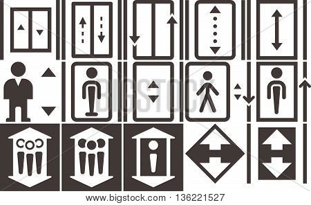 Silhouette of the object - Elevator - up - down icons set