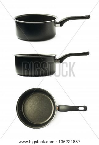 Teflon coated black sauce pan isolated over the white background, set of three different foreshortenings