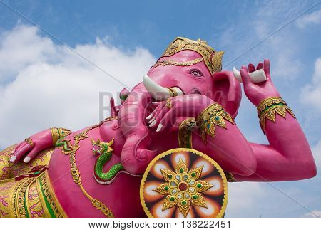 Asian pink Ganesha in the park in Thailand place