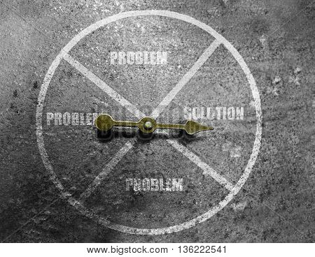 Arrow in a circle pointing to Solution text on textured grunge background