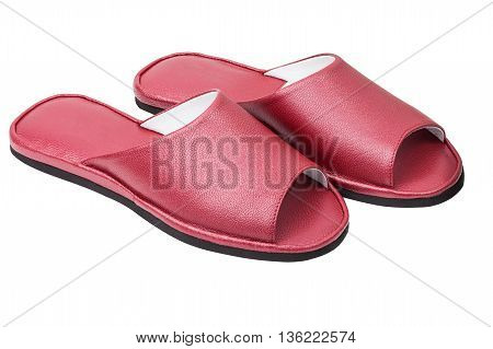 Pair genuine leather female slippers isolated on white background with clipping path