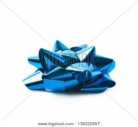 Decorational bow made of glossy blue tape, composition isolated over the white background