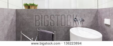 Luxurious And Intimate Bathroom Corner In Grey