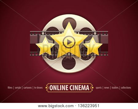 Online cinema icon logo design concept with movies disc film tape and golden stars vector illustration