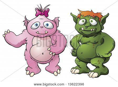 Personagens de desenhos animados do monstro bonito