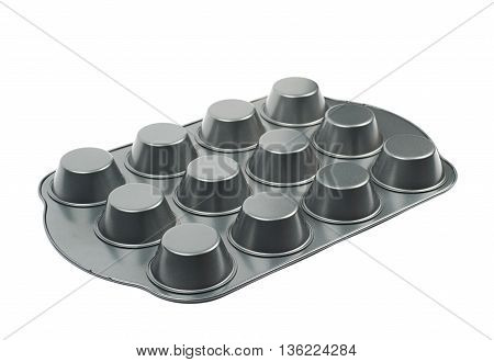 Metal muffin cupcake tray pan isolated over the white background
