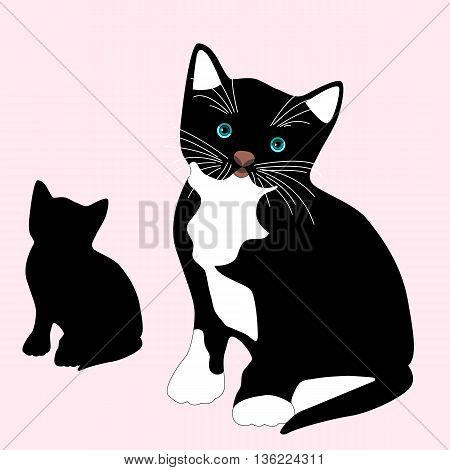 black kitten sits realistic vector illustration black silhouette