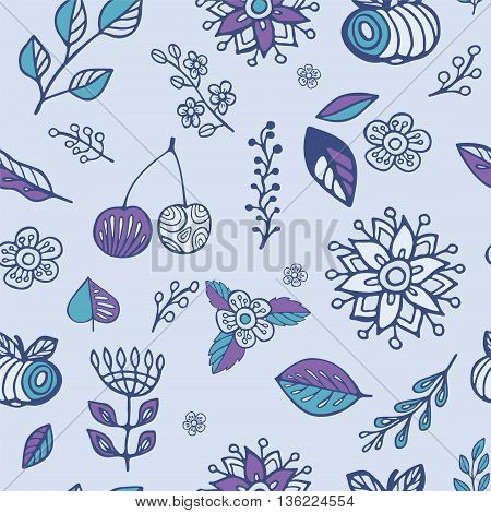 stock vector set of fruit with cherry apple leaf and flower. hand draw doodle pattern