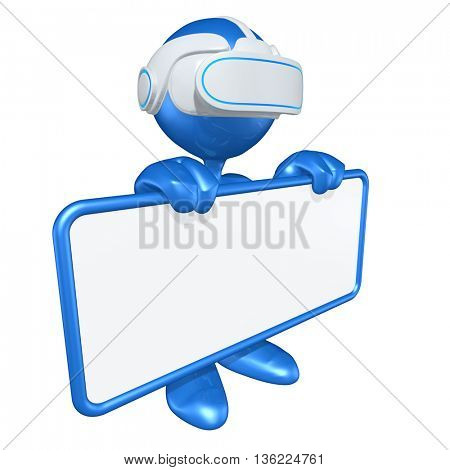 Virtual Reality Sign VR Headset Glasses Goggles Device 3D Illustration