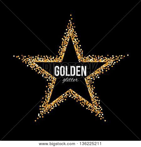 Golden Frame in the Form of Star with Text on Black