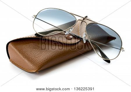 Blue Aviator Sunglasses With Case