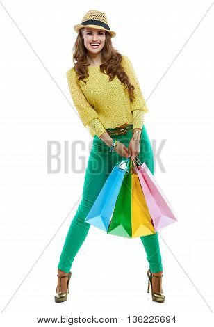 Smiling Woman With Colorful Shopping Bags On White Background