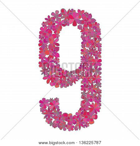 Number nine made of colorful flowers on white background.