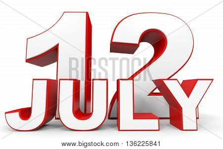 July 12. 3D Text On White Background.