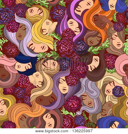 Abstract Elegance Seamless pattern with floral background, beautiful girls with long hair. Can be used as textile print, wallpaper, pattern fills, web page background, surface textures, wrapping paper