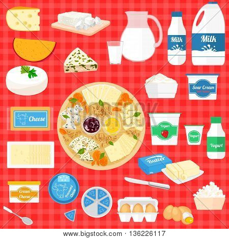 Colorful set of cartoon food dairy products, milk and farm products